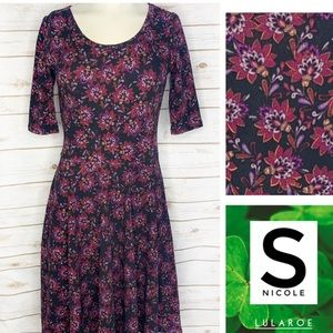 LuLaRoe Dresses - S black background floral print Nicole